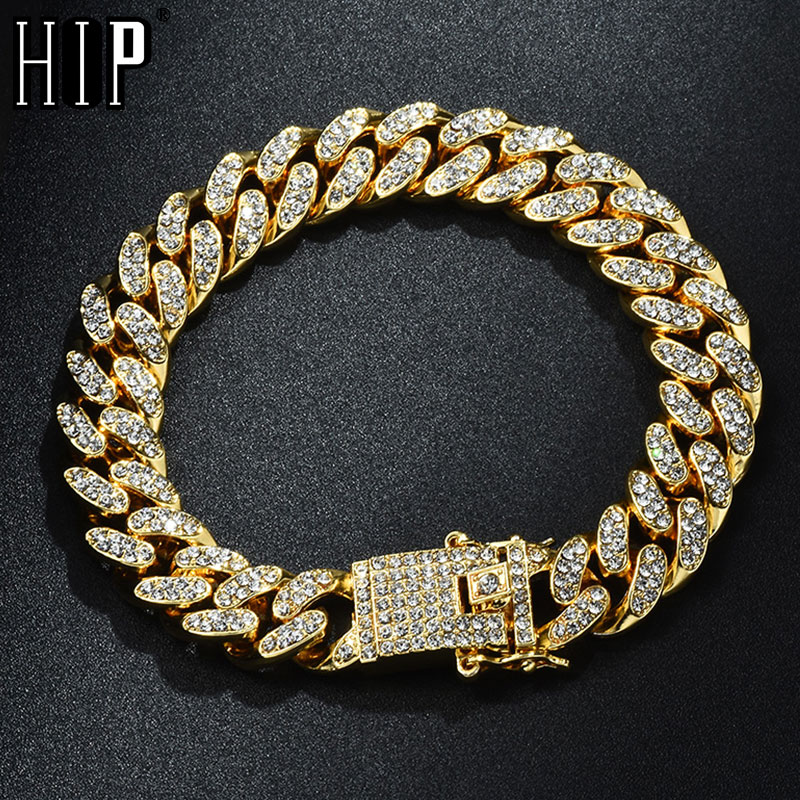 Hip Hop Bling Iced Out Miami Cuban Link Chain Full AAA Crystal Pave Men's Bracelet Gold  Color Bracelets for Men Jewelry