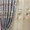 European Blue and Gray Blackout Curtains Chenille Flower Embossed Curtains for Living Room Bedroom Study Curtains Tulle Custom