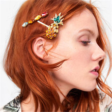 HOCOLE Fashion Crystal Hair Clips For Women Pineapple Gold Barrette Hairpins Girls Headwear Styling Accessories Wholesale