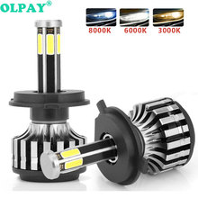 цена на OLPAY 6-Side H4 Car Headlight LED H7 12000ML  Bulb H11 H13 H1 H3 9005 9006 880 Auto Fog Light headlamp high beam low beam light