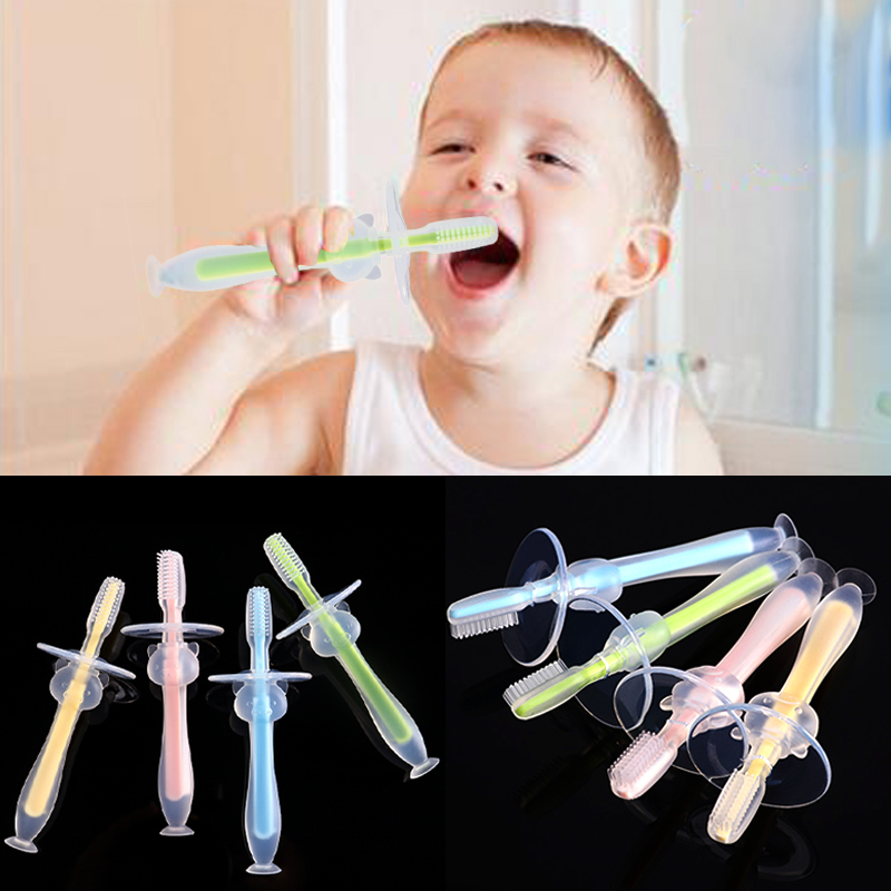 Baby Infants Kids Soft Safe Bendable Teether Training Mitten Teething Toothbrush Brush Dental Care image