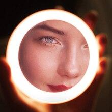 LED Mirror Makeup Portable Compact Mini Illuminated Round Travel Circular