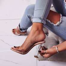 clear heels PVC Transparent Jelly Women Slippers High Heels Slippers Sandals Tra