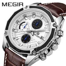 Часы мужские кварцевые с хронографом из натуральной кожи
