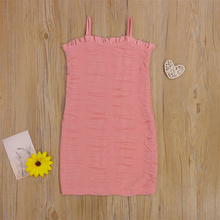 Kids Dress, Solid Color Sleeveless Spaghetti Strap 1 Pcs Close-Fitting Sundress for Summer, Pink, 1-6 Years