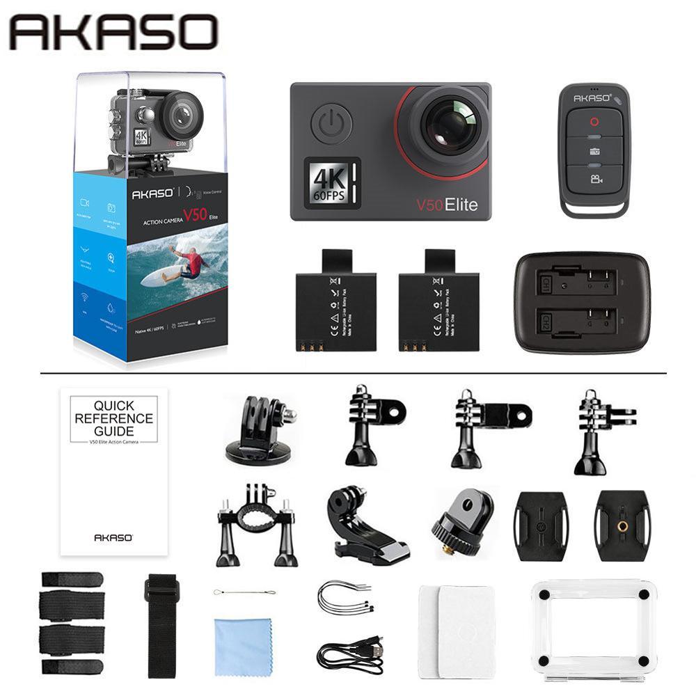 Akaso V50 Elite Nativa 4 K/60fps 20MP Ultra HD 4K Action Camera WiFi Tela Sensível Ao Toque de Controle de Voz EIS 40m Câmera À Prova D' Água