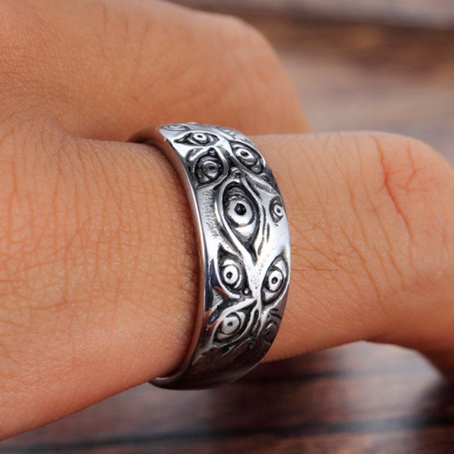 Vintage Punk Carved Eyes Mens Ring Finger Jewelry Hip Hop Rock Culture Ring Unisex Women Male Party Metal Rings Accessories 3