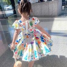 Повседневное платье для девочек, детские летние Расклешенные платья, вечерние платья на день рождения, одежда для девочек с рисунком