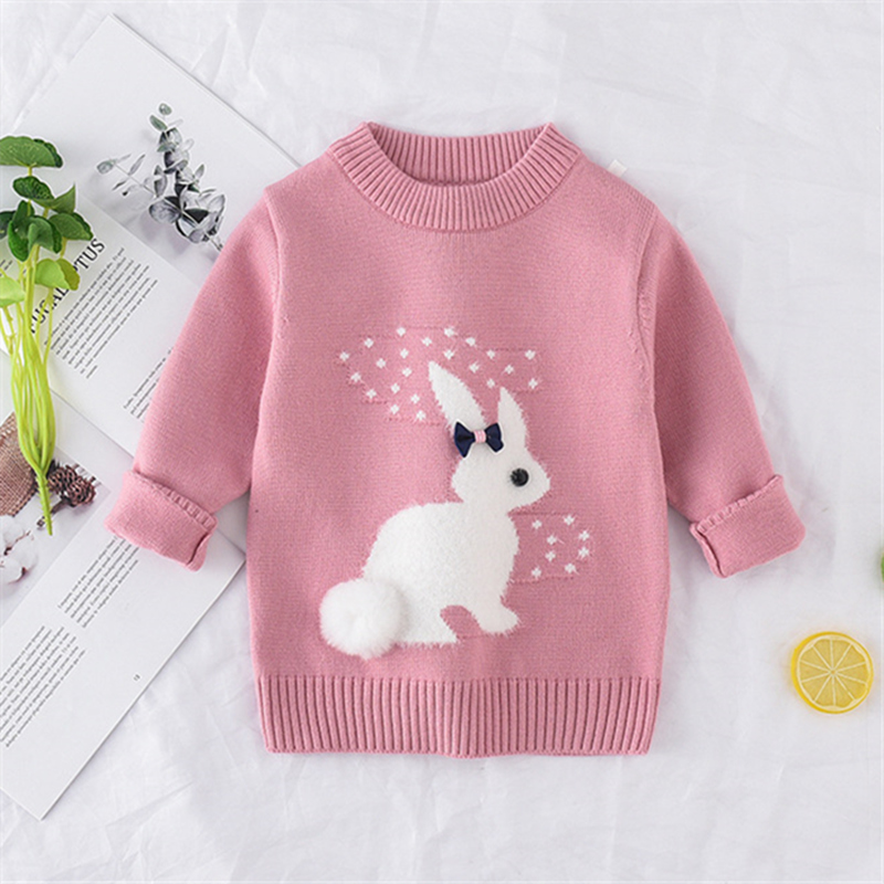 New Arrival girl Sweater Children Clothing rabbit Pattern Knitted Sweater  Baby girls Pullover Sweater Knitwear 1 5T Kids|Sweaters| - AliExpress