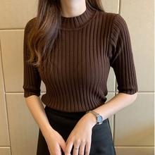 Red knitted T Shirt Half Sleeve Basic Woman Tshirts T-shirt Tee Shirt Femme Elasticity Poleras De Mujer Camisetas 2021 Summer