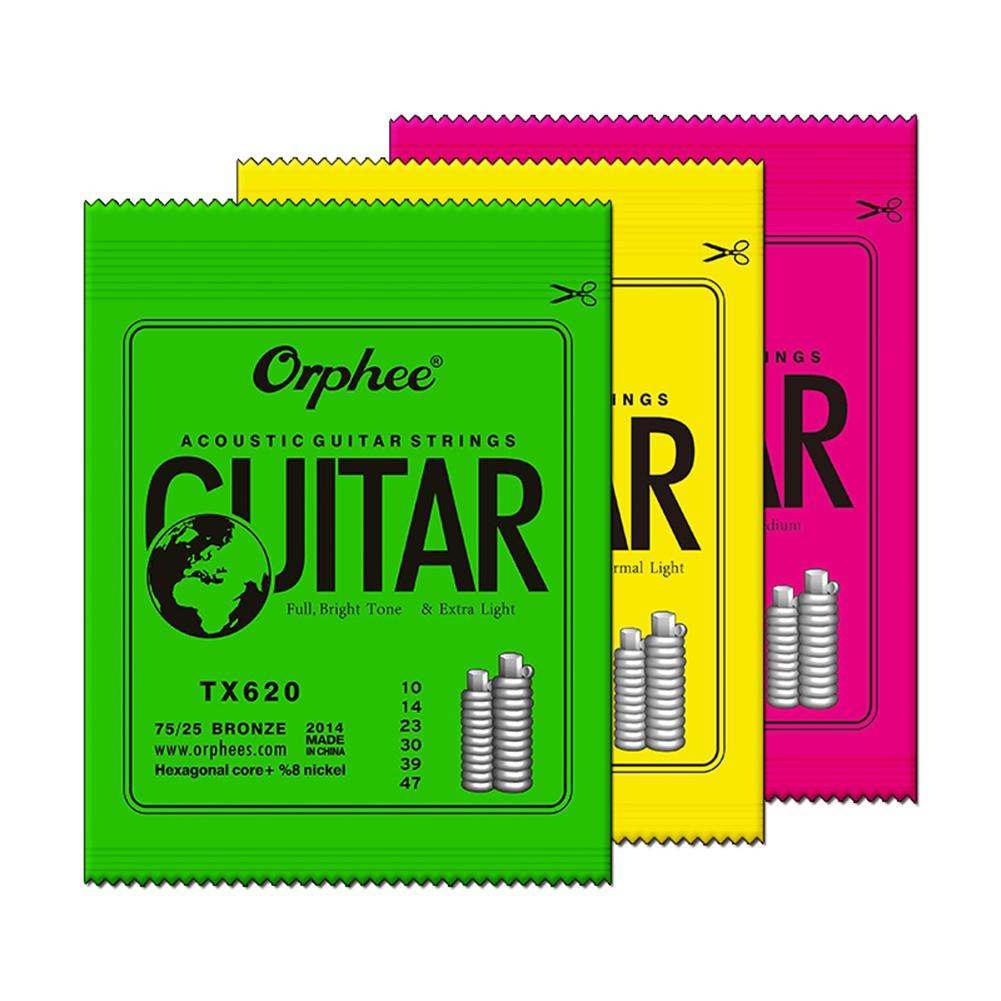 Orphee Acoustic Wood Folk Guitar Strings 6pcs Hexagonal Carbon Steel Guitarra String TX620/TX630/TX640 Guitar Part Accessories