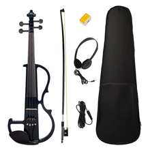 цена на Electric Violin 4/4 Full Size Violin with Case Bow Earphone Rosin Set Black New