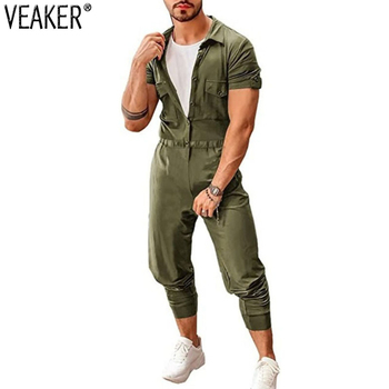 2020 New Men's Summer Cargo Pants Set Jumpsuits Male Fashion Short Sleeve Jumpsuit Solid Color Overalls M-2XL