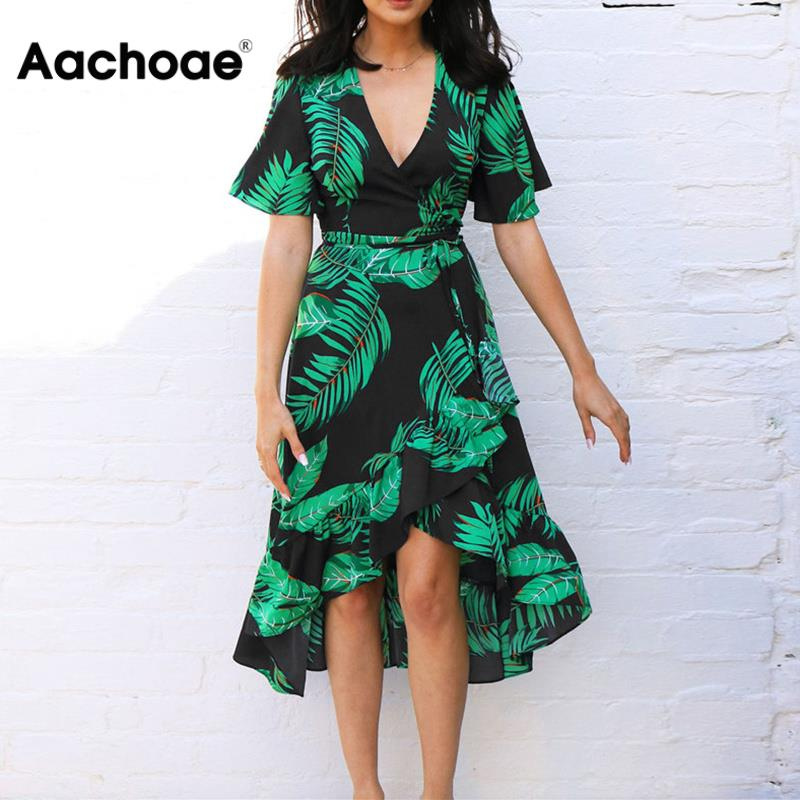 Summer Floral Print Chiffon Beach Long Dress Women Sexy Deep V Neck Party Dress Short Sleeve Casual Boho Bandage Dress Vestidos