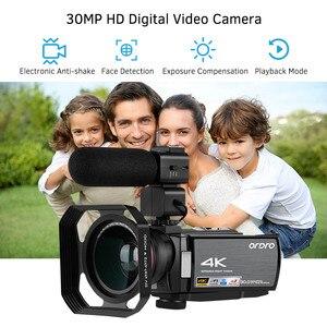 "Image 2 - Ordro Video Camera 4K Wifi Digitale Camcorder Dv 30MP 16X 3 ""Ips Touchscreen 0.39X Groothoek Lens + mic + Len Kap + Houder Gratis Door Dhk"