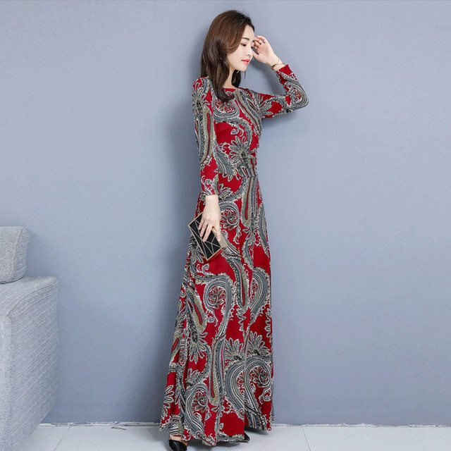 Bohemian Printing O-neck Long Dress  Long-sleeved  2