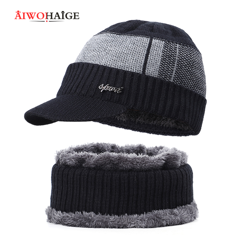 2019 Winter popular men's cap women's cap pompon knit beanie skullies male personalized 2 Pieces Set dad hat male outdoor
