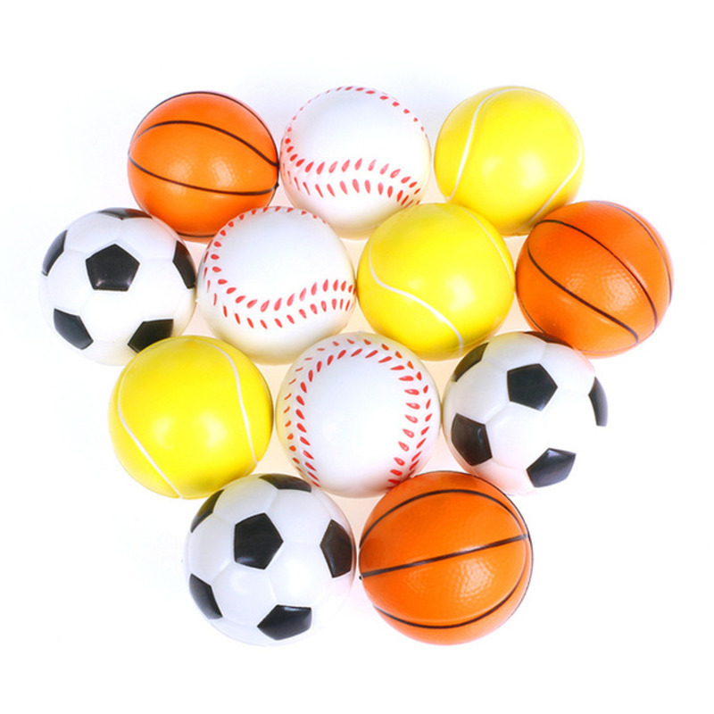 6Pcs/Set Soft Foam Ball Squeeze Toy Football Basketball Baseball Tennis Slow Rising Stress Relief Antistress Toys For Children