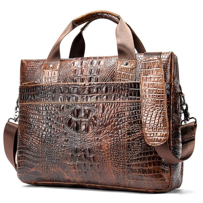 100% Cow Genuine Leather Men Briefcase Bag Business Handbag Male Laptop Shoulder Bags Alligator Natural Skin Tote Computer New