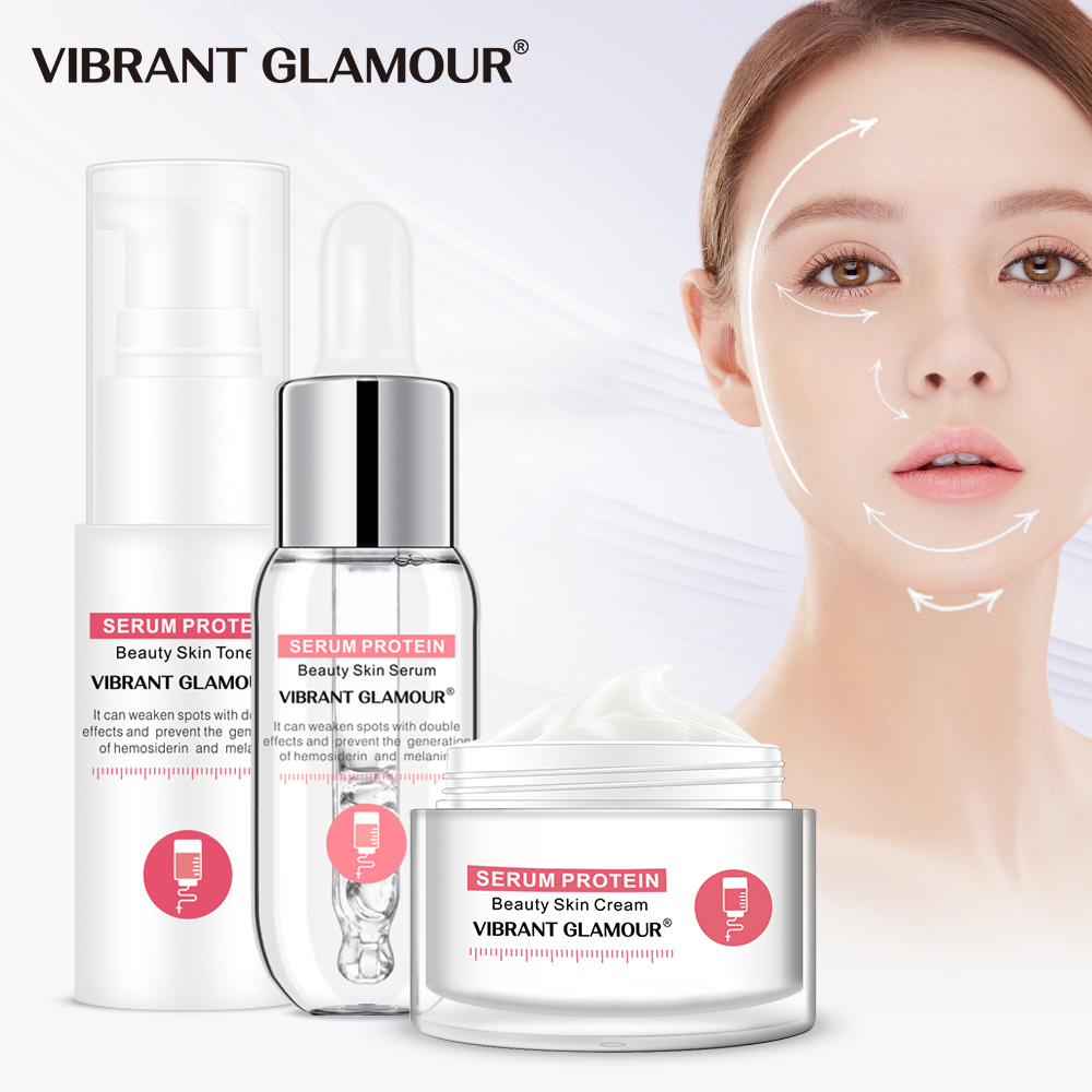 VIBRANT GLAMOUR Serum Protein Repair Face Cream Set Face Serum Anti-Wrinkle Face Toner Moisturizing Facial Essence Skin Care Set