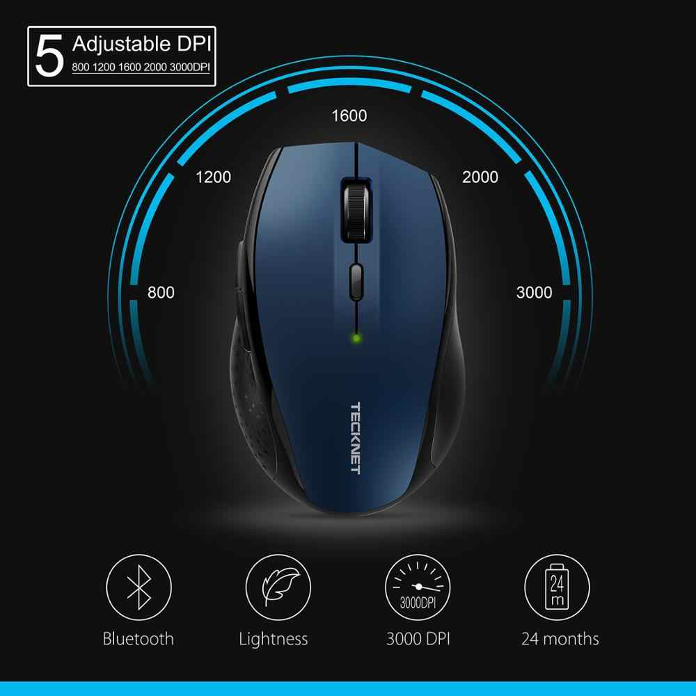TeckNet Bluetooth souris sans fil BM308 bleu 3000DPI 2000DPI 1600DPI souris ergonomique pour Xiaomi ordinateur portable PC souris de jeu