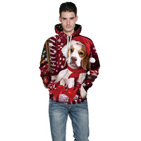 AliExpress Hot Selling Christmas Puppy Digital Printing Hoodie Europe And America Popular Brand WOMEN'S Dress Pullover Loose Fit