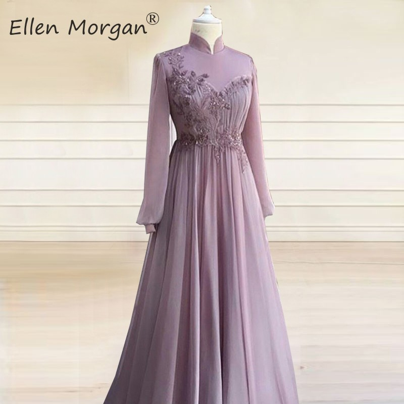 Muslim Long Sleeves Evening Dresses 2020 Vintage Moroccan Dubai Caftans Chiffon Beaded Elegant Formal Party Gowns For Women Wear