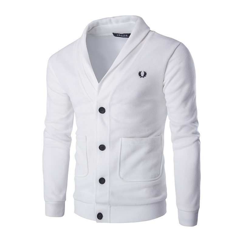 Fashion Men's Cardigan Sweater Slim Fit Solid Color Knitwear Korean Style Casual Clothing Male (The Size Is A Little Smaller)