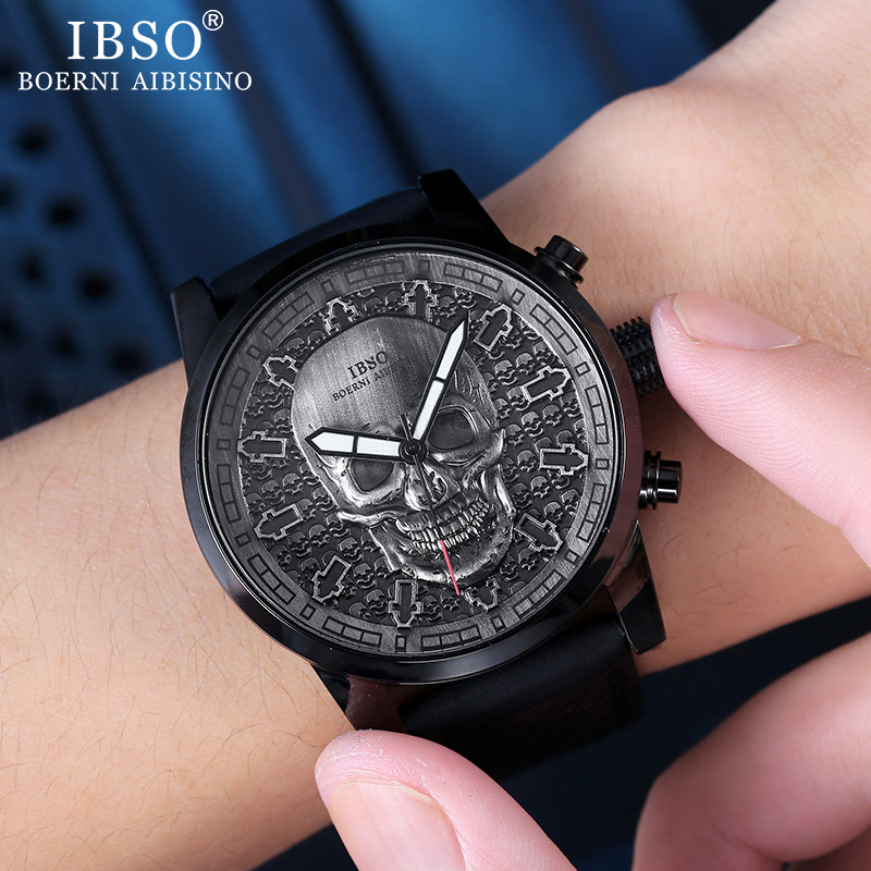 IBSO Men's Skull Quartz Watches Creative Punk Style Quartz Watches for Men Hip Hop Sport Wristwatch Waterproof Hours Clock