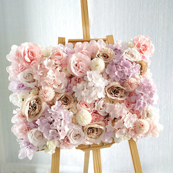 Silk Rose Flowers 3D Backdrop Wall Wedding Decoration Artificial Flower Wall Panel for Home Decor Backdrops Baby Shower