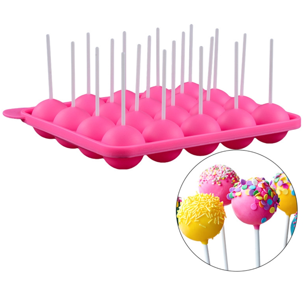 1PC 12/20 Holes Chocolate Ball Cupcake Cookie Candy Maker DIY Baking Tool Silicone Pop Lollipop Mold Stick Tray Cake Mould