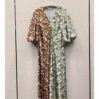 Cosmicchic 2020 Summer Women Vintage Boho Maxi Dress Colorblock Floral Print Puff Short Sleeve V neck Long Beach Casual Dresses
