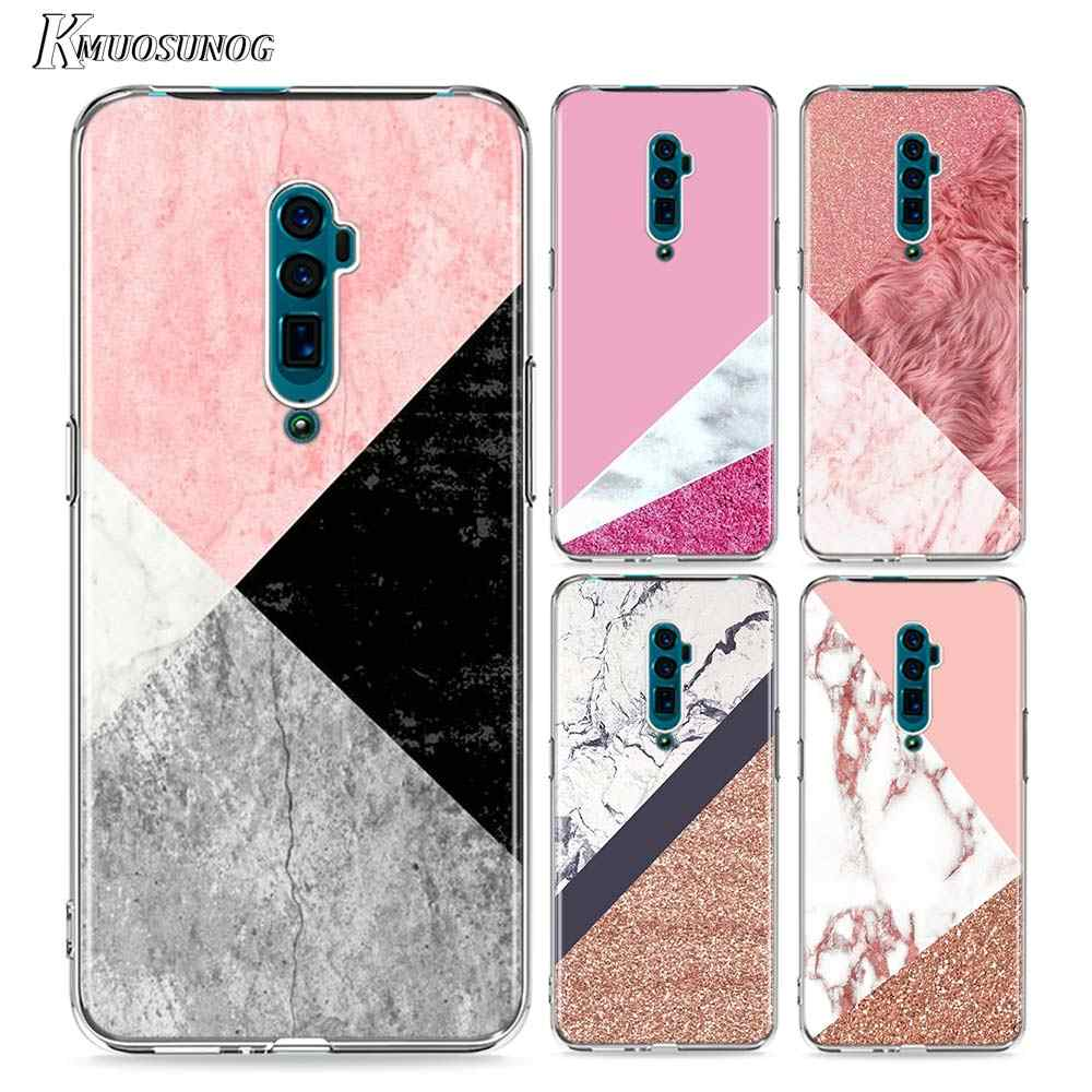 Clara cobertura tpu macia padrões de mármore rosa para oppo reno aice 2 z 10x zoom f11 f9 f7 f5 a7 r9s r17 c2 pro caso de telefone