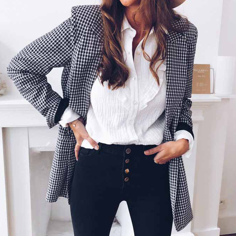 Blazer Elegant Coat Check Jacket Gingham Streetwear Long-Sleeve Lapel Plaid Autumn Winter title=