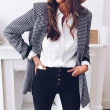 Fashion Women Plaid OL Blazer Elegant Long Sleeve Check Jacket Lapel Autumn Wint