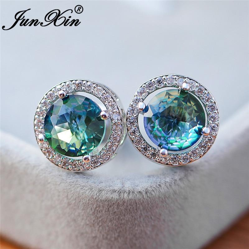 Gradient Rainbow Fire Crystal Round Earrings White Gold Colorful Zircon Blue Green Zircon Stone Stud Earrings For Women Jewelry