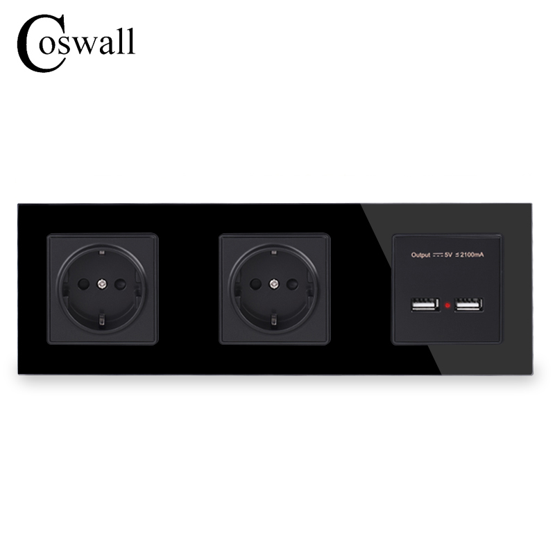 COSWALL Wall Crystal Glass Panel Double Socket 16A EU Electrical Outlet Dual USB Smart Charging Port 5V 2A Output Black Color