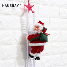 Christmas Santa Claus Climbing Stairs Electric Music Toy Doll Xmas Tree Ornaments Decoration Creative Gift X015