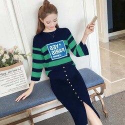 Frühjahr Koreanischen stil Kleid frauen Frühling Und Herbst Abnehmen Online Berühmtheit Zwei-Stück Set Westlichen Stil große Größe Sprin