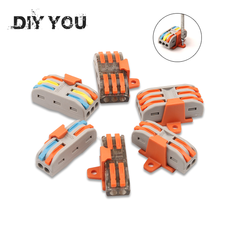 10/30/50/100PCS/lot Mini Fast Wire Connector Universal Compact Type Plug-in Terminal Block SPL-222/223 With Fixing Accessories