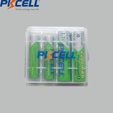 PKCELL 2 adet AA 2200Mah pil + 2 adet AAA 1.2V düşük kendinden deşarjlı NI MH AAA şarj edilebilir piller + 1 adet AA/AAA pil kutusu