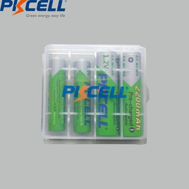 Pkcell 2 個aa 2200 3000mahのバッテリー + 2 個aaa 1.2v低自己放電ニッケル水素aaa充電式電池 + 1 個aa/aaa電池ボックス
