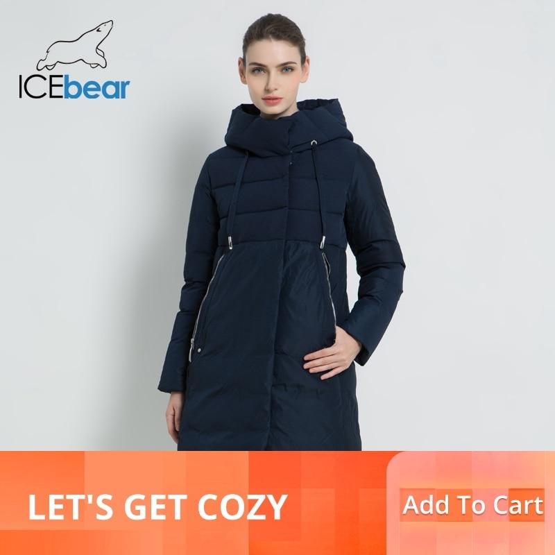 ICEbear 2019 جديد الشتاء النساء سترة عالية الجودة طويل امرأة معطف مقنعين الإناث ستر أنيق المرأة العلامة التجارية الملابس GWD18310I-في سترات فرائية مقلنسة من ملابس نسائية على  مجموعة 1
