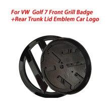 2pc gloss preto 138mm frente grill badge + 110mm tronco traseiro tampa emblema logotipo do carro apto para vw golf mk7 todos os modelos 2013-2017