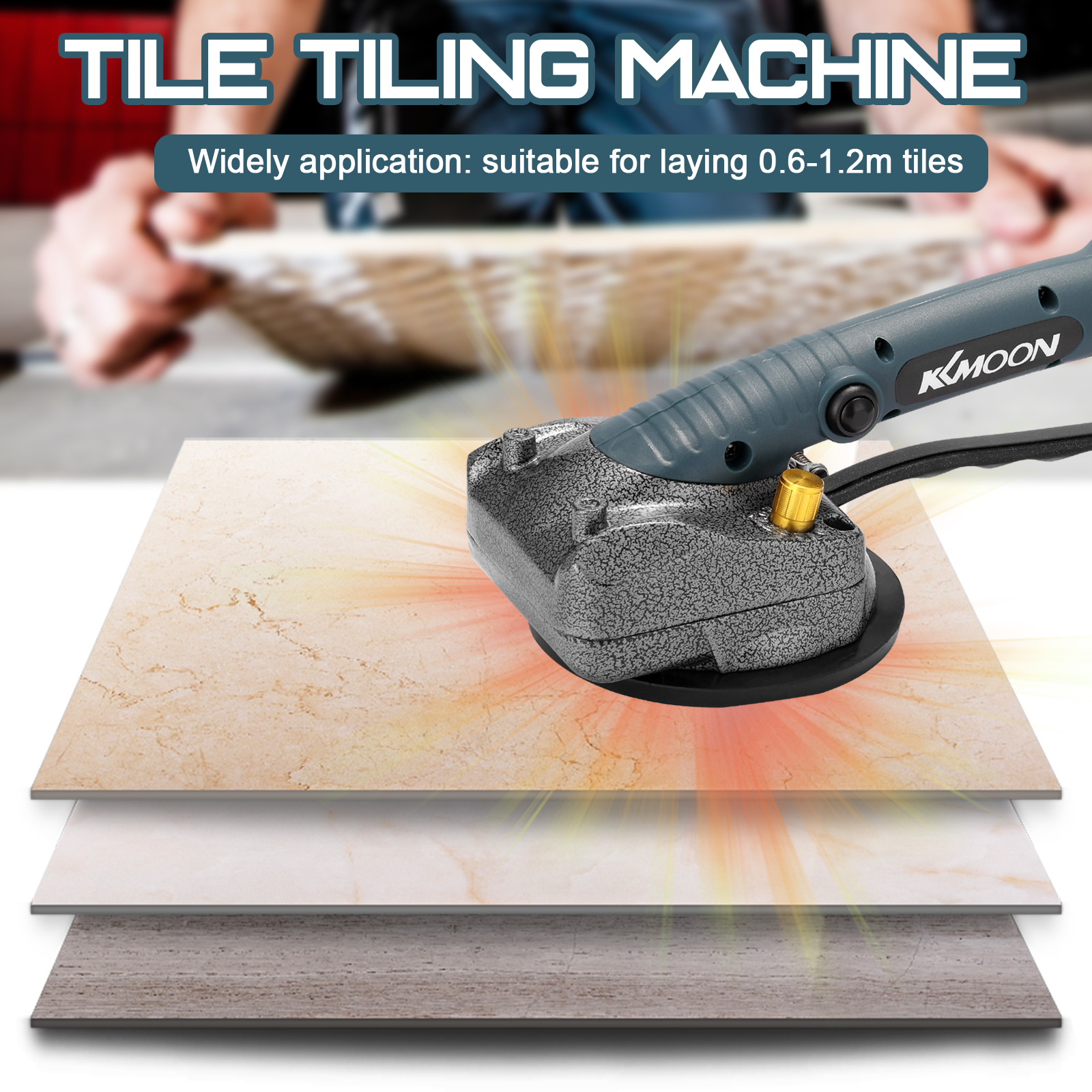 10-150Hz Tile Tiling Machine Wall Floor Tiles Laying Vibrating Tool With 100*100mm Suction Cup With 45kg Adsorption Capacity