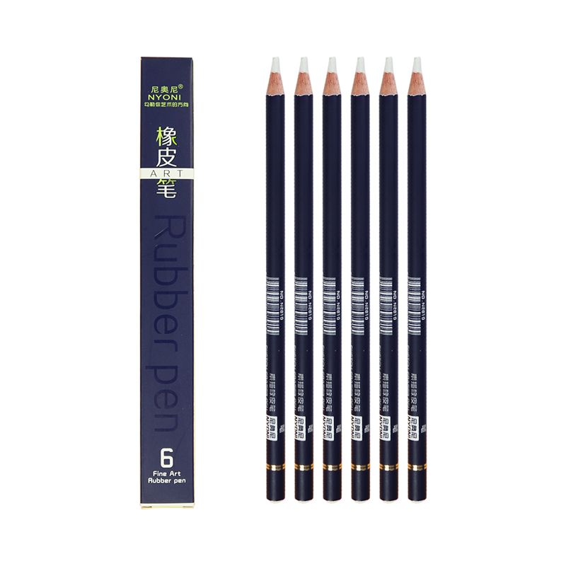 NYONI N2810 Rubber Pen Eraser Pencil 6pcs/set Highlight Modeling Rubber Pencil Revise Details Eraser Pen For Drawing Supplies
