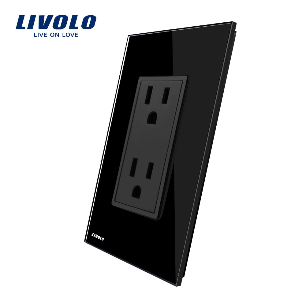 Livolo US Standard US Socket(15A),Black Crystal Glass, AC 110~220V, Wall Powerpoints With Plug, VL-C5C2US-12