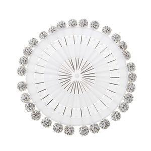 Image 4 - 30Pcs/Set Safety Pin Muslim Hijab Scarf Pin Rhinestone Ball Brooch Straight Head Pin