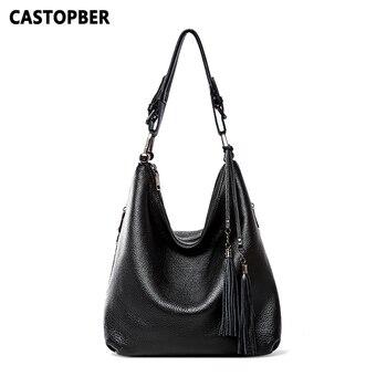 Women's Large Capacity Shoulder Handbags Cow Genuine Leather Ladies Tote Bags Casual Female Purse New Designer Tassel Famous Bag