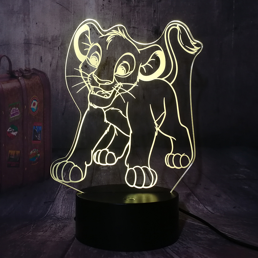 Cute Cartoon The Lion King Little Simba 3D LED Night Light RGB 7 Colors Desk Table Lamp Home Decor Child Kids Boy Christmas Gift